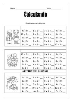 Multiplicação - Atividades Adriana Education English, Kids Education, Multiplication, Math Books, School Worksheets, Math Class, Math For Kids, Kids Study, English Lessons