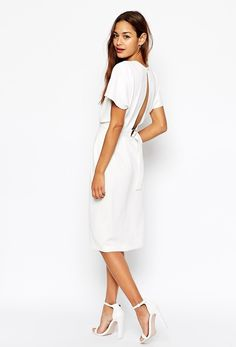 Buy ASOS PETITE Wiggle Dress in Crepe with Open Wrap Back and D-Ring at ASOS. Get the latest trends with ASOS now. White Cocktail Dress, White Dress, Cocktail Dresses, Asos Beauty, Asos Petite, Occasion Wear, Mannequin, Bridal Dresses, Outfits