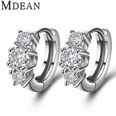MDEAN white Gold plated Brincos AAA Zircon Hoop Earrings for women wedding boucle d'oreille CZ diamond jewelry earrings MSE012