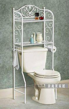The new, wrought iron shelf european-style bathroom toilet, toilet rack shelf arrangement to receive a multilayer Bathroom Toilets, Small Bathroom, Bathroom Storage Shelves, Storage Hooks, Shelf Arrangement, Bad Styling, Floor Shelf, Iron Shelf, Iron Furniture