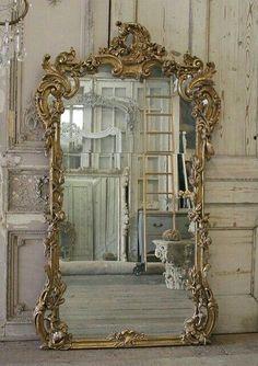 Mirror with French Rococo Gold ornamentation French Mirror, Ornate Mirror, Old Mirrors, Vintage Mirrors, French Decor, French Country Decorating, Decoration Baroque, Victorian Wall Decor, Victorian Mirror