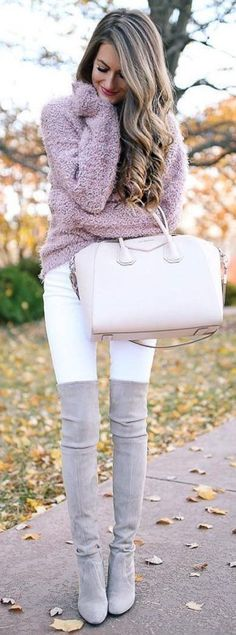 #winter #outfits women's pink fur sweater, white bottoms, and gray thigh-high boots outfit