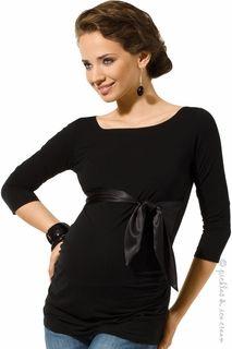 9fashion Maternity Black Satin Tie Siera Top