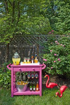 mini bars, outdoor bars, flamingo, beverage cart, backyard parties, pink, bar carts, home bars, covered porches