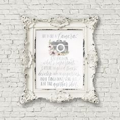 Camera Quote Digital Print Life is like a Camera Camera Quotes, Color Correction, Paper Background, Watercolor Paper, Digital Camera, Printable Art, Digital Prints, Display, Frame