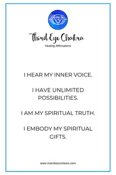 Our Third Eye chakra represents our ability to focus on and see the big picture. It is our energetic center of sight, intuition, clairvoyance and thought. Here are 20 affirmations to raise the vibration of your Third Eye chakra 6 Chakra, Third Eye Chakra, Chakra Healing, Chakra Mantra, Chakra Art, Chakra Meditation, Mindfulness Meditation, Meditation Space, Meditation Music
