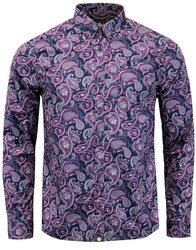 Pretty Green Chelsea Paisley mod button down shirt in purple. Pretty Green's iconic signature paisley print in a fan seasonal colour palette that really catches the eye. Smoke grey buttons, short point collar and self fabric chest pocket finish the shirt off in style: http://www.atomretro.com/26739 #prettygreen #paisley #paisleyshirt #mensshirt #buttondownshirt #atomretro #mensfashion #mensstyle #psychedelic