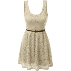 LE3NO Womens Sleeveless Lace Crochet Flared Dress ($19) ❤ liked on Polyvore featuring dresses, lace dress, brown cocktail dress, floral lace dress, special occasion dresses and cocktail dresses