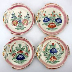 Locronan Quimper Pottery Fish Plate Hand Painted Flowers Set of 4
