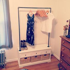 DIY clothing rack- opens up so much closet space!