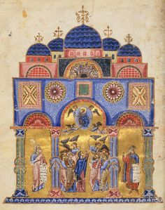 byzantine illuminated manuscript of the 12th century, depicting the Ascension of Christ and two prophets.
