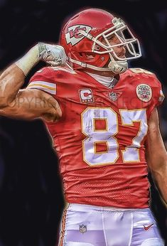 Great Travis Kelce Kansas City Chiefs Art Print, New & Rare, Limited to only 50 prints. Signed and Numbered by the artist! Kc Football, Football Poses, American Football, Football Players, Kansas City Chiefs Football, Kansas City Royals, Pittsburgh Steelers, Dallas Cowboys, Nfl Chiefs