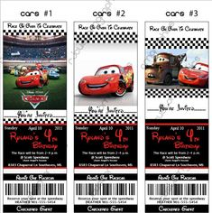 Disney Cars Birthday Ticket Invitations (DIY Printable or Print & Ship). $12.00, via Etsy.