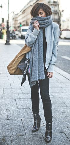 Zoé Alalouch + gorgeous winter style + black denim jeans +  light blue jacket + oversized scarf + classic christmas feel + leather boots   Vest: Vila, Top: Lola Mademoiselle D, Jeans: Paige, Boots: Windsor Smith.