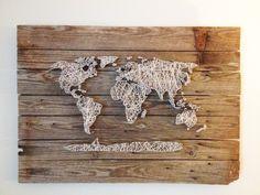 World Map Reclaimed Barn Door Wood String Art Wall Decor, 39 x 29. $450.00, via Etsy.