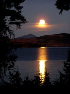 Moonrise Over Moosehead Lake, ME. Forever thankful I was with my best friend when I first discovered Moosehead. Greenville Maine, Good Night Moon, Lake Cabins, Lake Life, Science And Nature, Vacation Spots, New England, Cool Pictures, Beautiful Places
