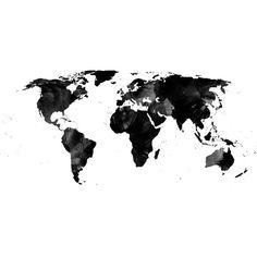Black watercolor world map Art Print, monochrome art print, black & white…