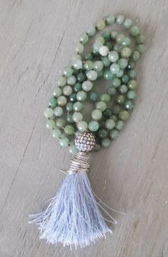 Long knotted tassel necklace 'Duster in Lilac ' by slashKnots