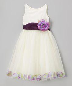 Ivory & Lavender Rose Petal Dress - Toddler & Girls