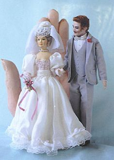 Bride and Groom Miniature Dollhouse Dolls
