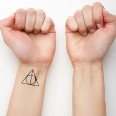 Harry Potter's Deathly Hallows temporary tattoo on the left inner wrist. >>> Buy here