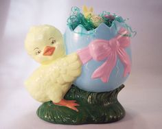 Vintage Ceramic Easter Chick and Egg Blue Easter by theicepalace #vintage #homedecor #Easter #ceramic #chick #egg #yellow #blue #pink  #bunny #handmade #grass #green #bow #happy #chicken #baby #etsy #orange