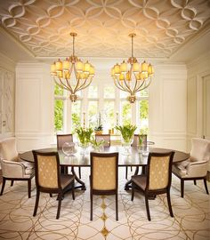 Designed By Regina Sturrock Design Inc A Layered Dining Room Where Textile And Tracery Are