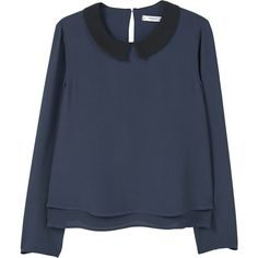 MANGO Contrast Neck Blouse ($50) ❤ liked on Polyvore featuring tops, blouses, layered blouse, blue blouse, layering shirts, long sleeve blouse and blue long sleeve shirt