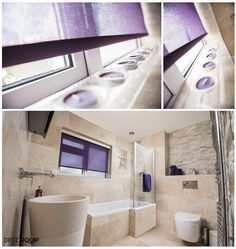 Motorised Roller Blind with Purple Trafalgar fabric which is our Capital Collection fabric. Made To Measure Blinds, Roller Blinds, Blinds For Windows, Curtains, Mirror, Purple, Fabric, Collection, Home Decor