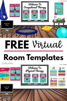 Get your free virtual room templates. These are perfect for physical therapy, occupational therapy, motor rooms and more. Link to different activities using these done for you templates today! Add your own Bitmoji to make the classroom yours!