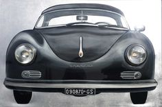 """Porsche 356"" handwork, by monicasali.it. Mixed media on canvas 150x100 cm with original Porsche parts , and working lights"