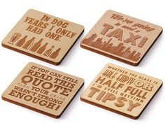 Laser Cut Wood Coaster  Set of 4  Drink Sayings by LaserMadeUSA