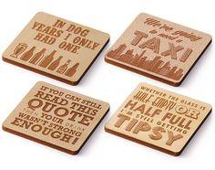 Laser Cut Wood Coaster  Set of 4  Drink Sayings by LaserMadeUSA