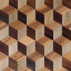 Solid wood floor tile CUBISME PARISIEN