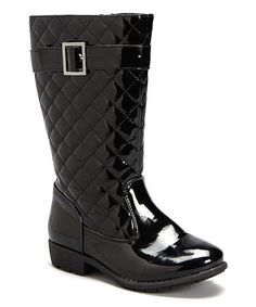 Love this Black Patent Quilted Boot on #zulily!