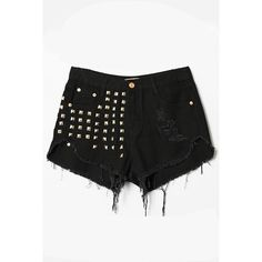 LUCLUC Black Tassel Riveted Ripped Shorts (34 AUD) ❤ liked on Polyvore featuring shorts, bottoms, lucluc, pants, short, black shorts, denim short shorts, ripped denim shorts, destroyed jean shorts and black distressed shorts