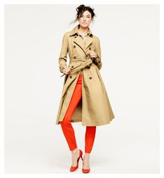 Jacquelyn Jablonski for J. Crew  #orange #trenchcoat