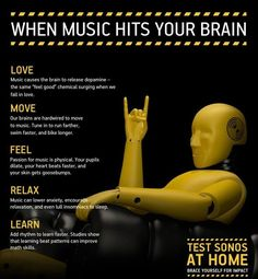 Fantastic reasons to make music an integral part of your classroom practice. Your brain on music: A few benefits of all the music on Earth. Music And The Brain, Your Brain, Music Hits, Sound Of Music, Music Music, Urban Dance, Elementary Music, Elementary Schools, Teaching Music