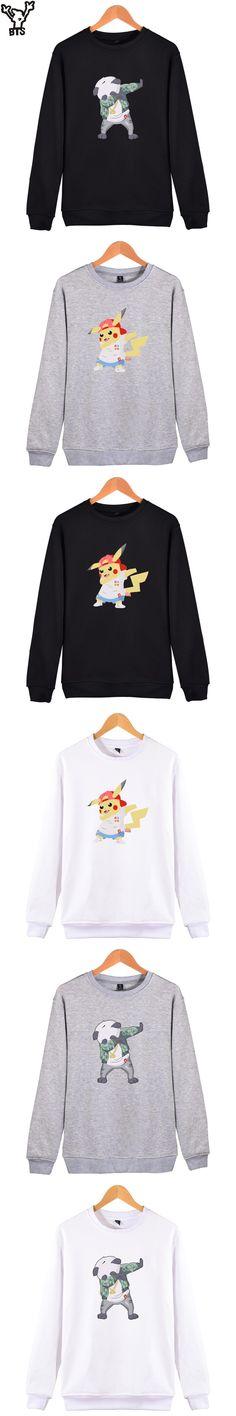 BTS Funny Aminal Sweatshirt Men's Hooded Fashion Casual Sweatshirt Men Kawaii Cartoon Pikachu Sweatshirt Men Black Clothes