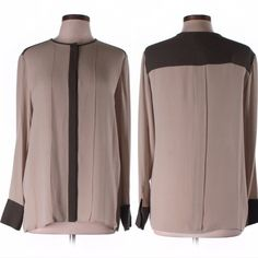 """NWT THEORY Color Block tan SILK blouse top Large NWT THEORY Color Block tan Long Sleeve 100% SILK top blouse Size Large Description: Scoop neck Long sleeve Tan Color block Measurements: Chest 19"""", Length 27"""" Materials: 100% Silk Condition: This item is new with tags still attached -MSRP $235 Theory Tops Blouses"""