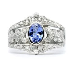 Beautiful 7x5mm Natural Blue Tanzanite Ring With White Zircon in 925 Silver #Multajewelry #SolitairewithAccents