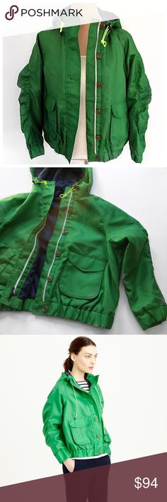 NWOT J. CREW hooded utility jacket NWOT- utility jacket from J. Crew in bright green. Perfect spring jacket. Modeled on a size medium. See last photo above for full product description. No trades- Offers always welcome. J. Crew Jackets & Coats Utility Jackets