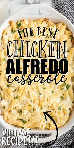 This chicken alfredo bake is a great twist on traditional chicken alfredo. Penne pasta combines with a creamy sauce, tender chicken breast and lots of melted cheese goodness. Alfredo Casserole Recipe, Easy Casserole Recipes, Casserole Dishes, Penne Pasta Recipes, Pasta Dishes, Baked Chicken Pasta Recipes, Baked Penne Pasta, Baked Chicken Fettuccine Alfredo Recipe, Creamy Chicken Pasta Bake