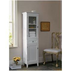 Store your towels, bath products and collectibles in this armoire by Fieldcrest. This hardwood armoire has a drawer and two shelves to accommodate all of your bathroom needs. The upper cabinet has glass doors so you could use it to display candles and decorative soaps or use it for bathroom necessities. Find this at Target for $107.79.