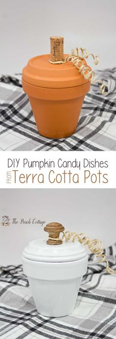 How to Make Pumpkin Candy Dishes from Terra Cotta Pots is part of Thanksgiving crafts Terra Cotta - The Birch Cottage shares how to make Pumpkin Candy Dishes from Terra Cotta Pots A simple DIY project perfect for your fall home decor Thanksgiving Crafts, Fall Crafts, Halloween Crafts, Holiday Crafts, Dyi Crafts, Halloween 2020, Creative Crafts, Fall Halloween, Holiday Ideas