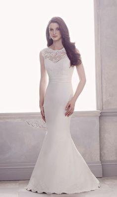 Trumpet Bateau Chapel Train Satin,lace Natural Waist Wedding Dress