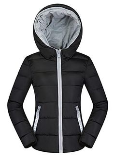 M2MO Womens Winter Warm Plus Size Quilted Hooded Puffer Padded Coat Black US 2XL ** To view further for this item, visit the image link. (This is an affiliate link)