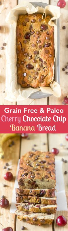 Grain free and Paleo Cherry Chocolate Chip Banana bread that's also nut free and perfect for breakfast or a snack. Very kid friendly! Delicious enough for dessert!
