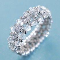 Create Your Own DIY Miyuki Glass Bead Ring Kit - Cubic Zirconia Line Silver