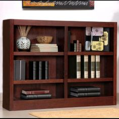 """Midas Six Shelf Double Bookcase 36""""H Dry Oak Finish by Concepts In Wood. $193.00. Concepts in Wood Midas collection 36''H six shelf double bookcase is constructed of genuine wood veneer laminated to engineered wood with a sturdy plywood back.Bookcase features a sevenstage ecofriendly finish, two fixed and four adjustable shelves, and an unfinished back.Ships ready to assemble.. Save 18%!"""